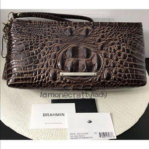 BRAHMIN Kayla Wristlet CHESTNUT MELBOURNE Leather